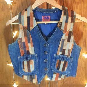 Vintage Denim Leather Unique Vest
